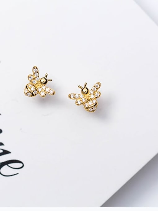 Rosh 925 Sterling Silver Rhinestone  Cute bee Stud Earring 2