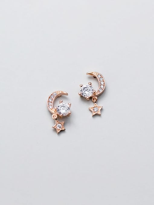 Rosh 925 Sterling Silver Cubic Zirconia  Star Moon Dainty Stud Earring 1