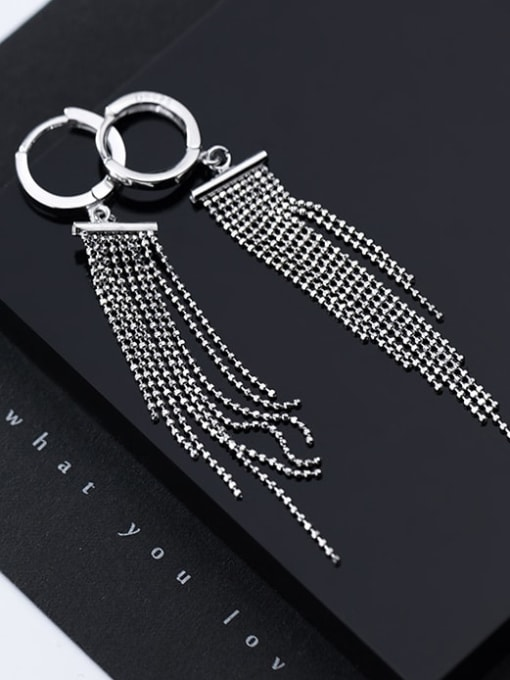 Rosh 925 Sterling Silver Bead Tassel Vintage Threader Earring 3