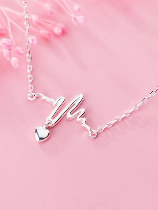 Rosh 925 Sterling Silver Minimalist Wavy Lines Smooth Heart Pendant  Necklace