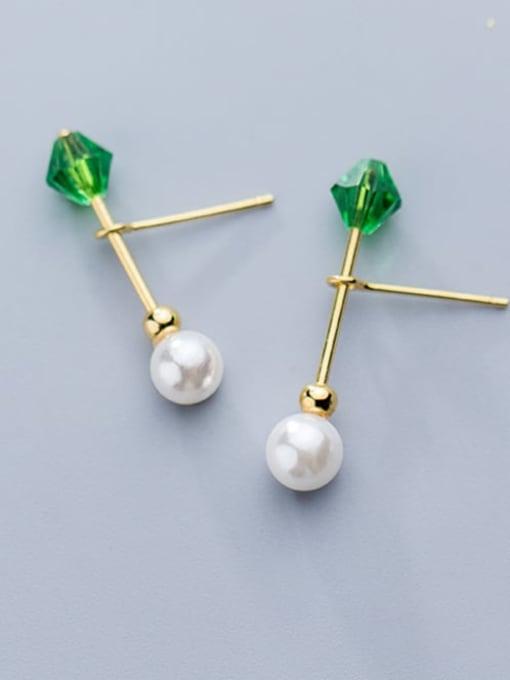 Rosh 925 Sterling Silver Imitation Pearl Geometric Minimalist Stud Earring 1