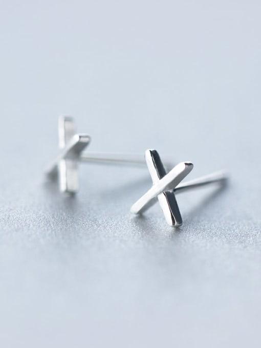 Rosh 925 Sterling Silver Smooth Cross Minimalist Stud Earring 1