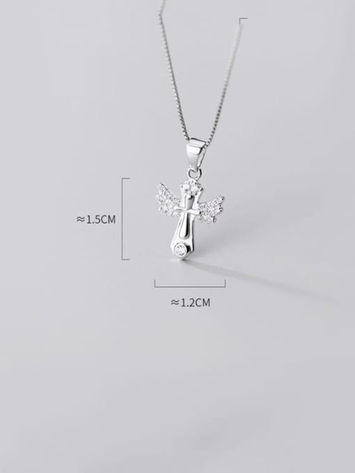 Rosh 925 sterling silver rhinestone minimalist cross pendant 3