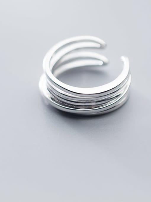 Rosh 925 Sterling Silver Minimalist Fashion Multi-layer lines Irregular Free Size Ring 2