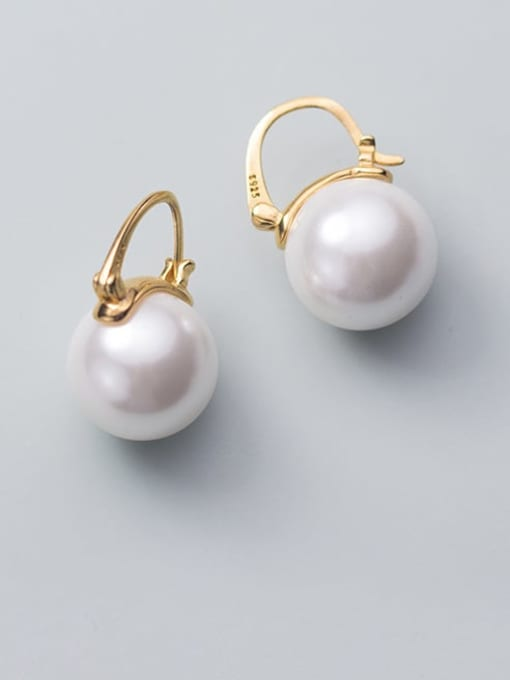 Rosh 925 Sterling Silver Imitation Pearl Round Ball Minimalist Stud Earring 0