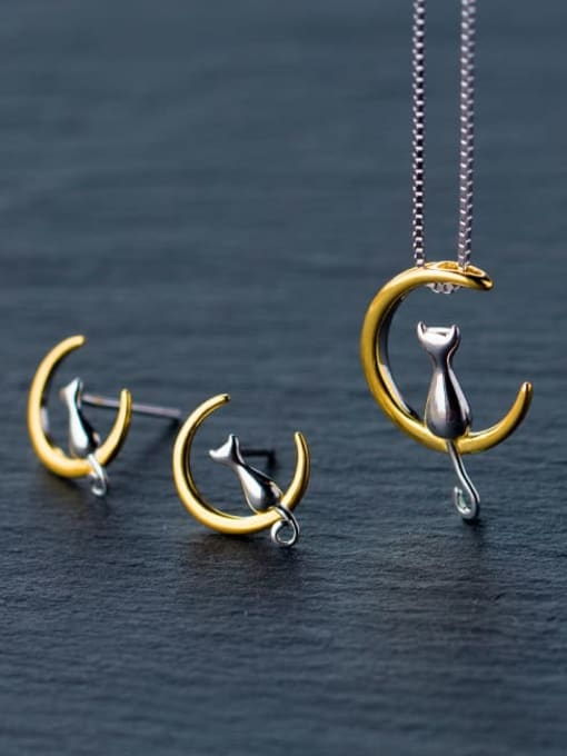 Rosh 925 Sterling Silver  Minimalist Cute  Cat Moon  Necklace 1