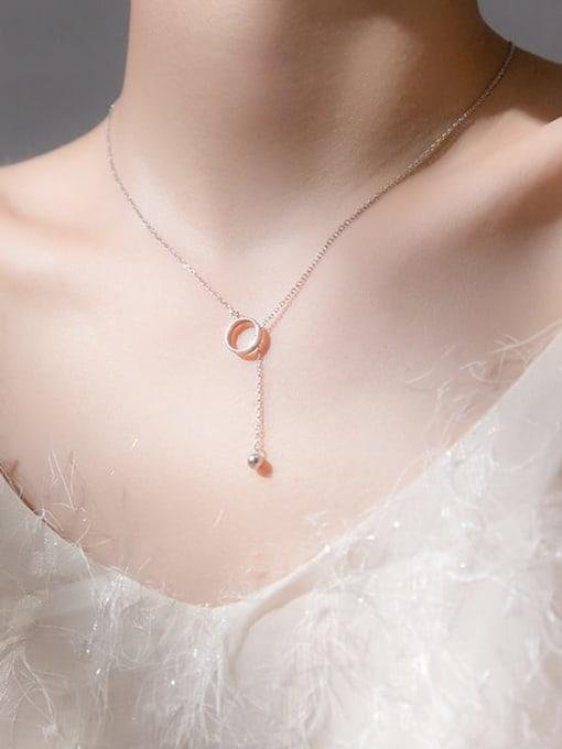 Rosh 925 Sterling Silver Hollow Round Minimalist Tassel  Necklace 1