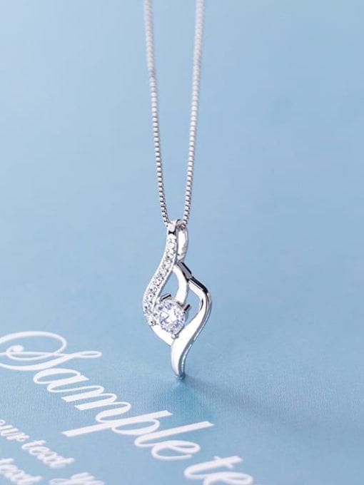 Rosh 925 Sterling Silver Cubic Zirconia Simple geometric shape Pendant  Necklace 2