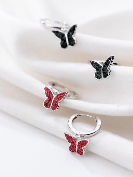 Rosh 925 Sterling Silver Rhinestone Red Butterfly Cute Huggie Earring 2
