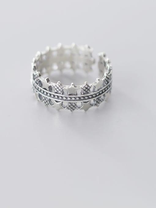Rosh 925 sterling silver star vintage free size  ring 1