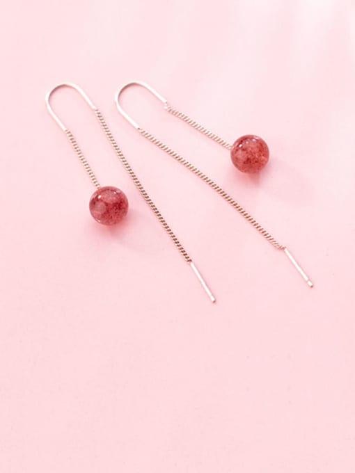 Rosh 925 Sterling Silver Garnet Tassel Minimalist Threader Earring