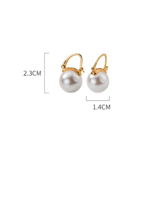Rosh 925 Sterling Silver Imitation Pearl Round Ball Minimalist Stud Earring 3