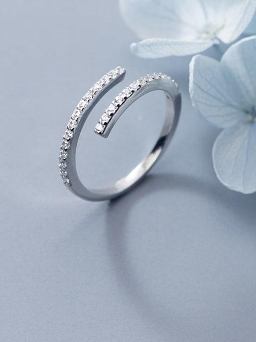 Rosh 925 Sterling Silver Rhinestone White Round Minimalist Band Ring 3