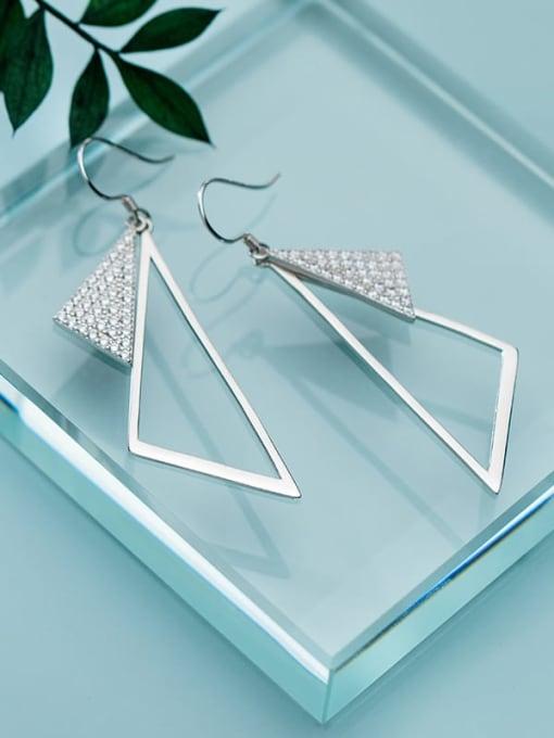 Rosh 925 Sterling Silver Rhinestone Triangle Minimalist Hook Earring 1