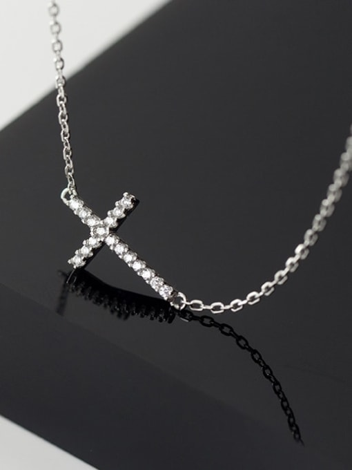 Rosh 925 Sterling Silver Cubic Zirconia Cross Dainty Regligious Necklace 3