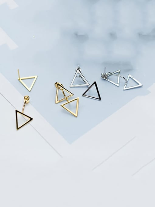 Rosh 925 Sterling Silver Hollow  Triangle Minimalist Stud Earring