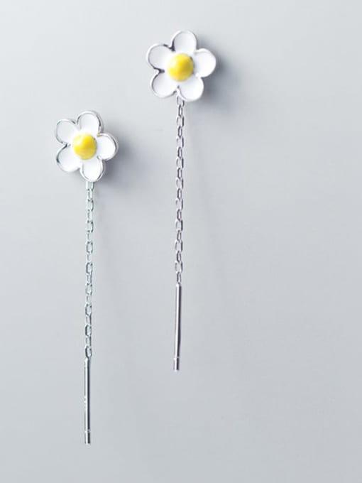 Rosh 925 Sterling Silver White Enamel Flower Minimalist Threader Earring 1