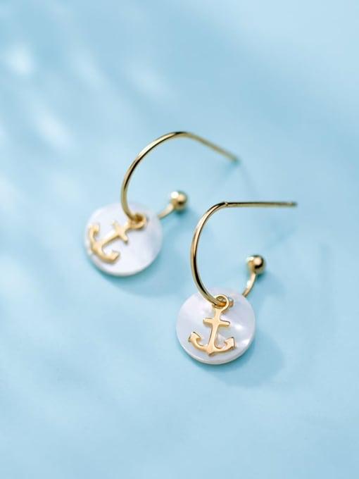 Rosh 925 Sterling Silver Shell  Anchor Trend Hook Earring 3