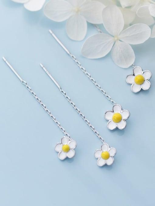 Rosh 925 Sterling Silver White Enamel Flower Minimalist Threader Earring 0