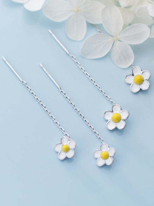 Rosh 925 Sterling Silver White Enamel Flower Minimalist Threader Earring
