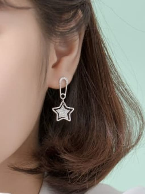 Rosh 925 Sterling Silver Rhinestone Yellow Star Trend Huggie Earring 2