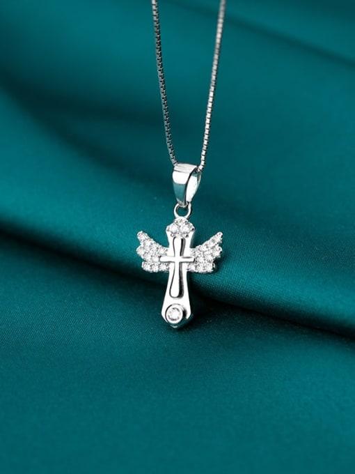Rosh 925 sterling silver rhinestone minimalist cross pendant 1