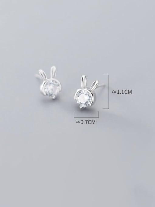 Rosh 925 sterling silver single diamond cute little rabbit Earrings 2