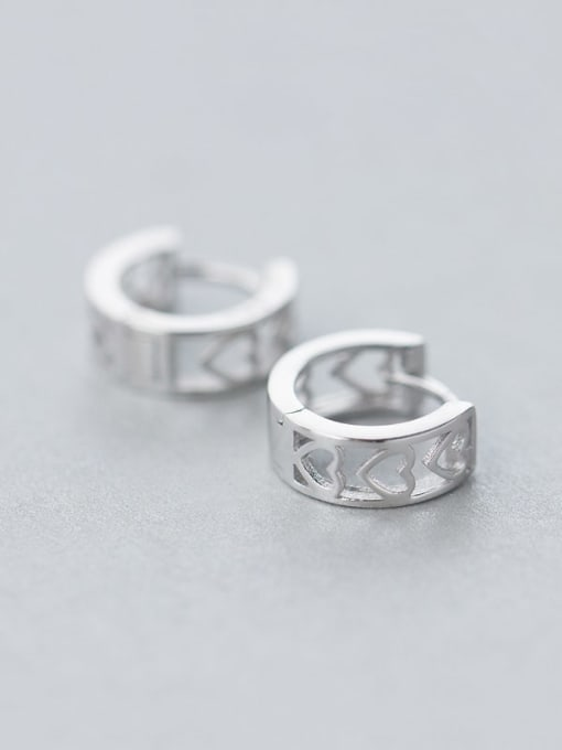 Rosh 925 Sterling Silver Hollow Heart Minimalist Huggie Earring