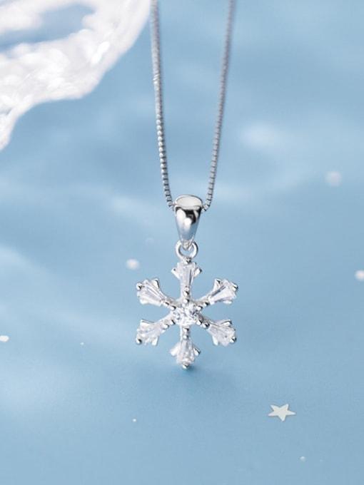 Rosh 925 Sterling Silver Snowflake Diamond Pendant  (no chain) 1