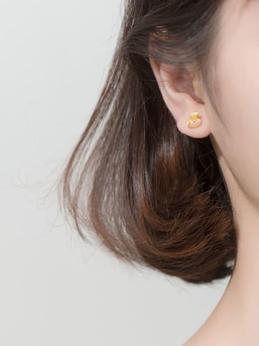Rosh 925 Sterling Silver Cats Eye Beige Irregular Minimalist Stud Earring 1
