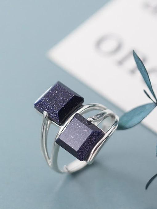 Rosh 925 Sterling Silver Obsidian Black Geometric Minimalist Free Size  Ring 1