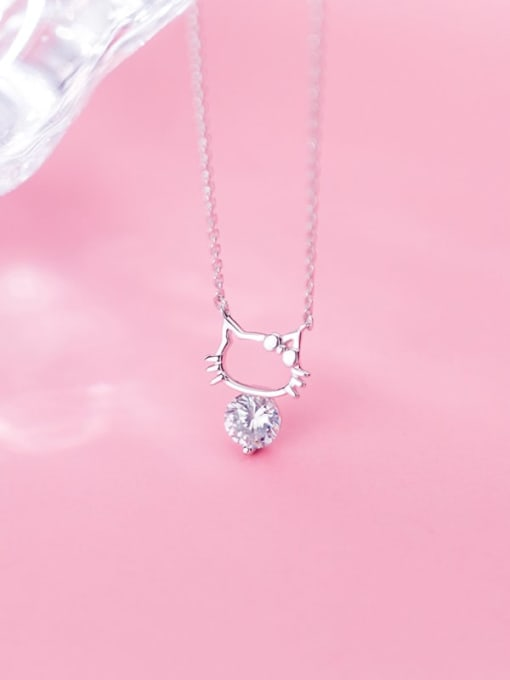 Rosh 925 Sterling Silver Cubic Zirconia Fashion Cute Hollow Cat Necklace 1