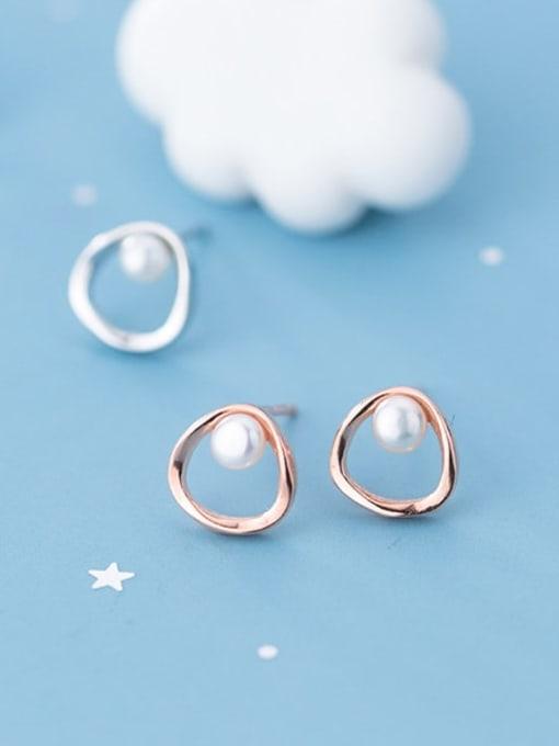 Rosh 925 Sterling Silver Imitation Pearl White Geometric Minimalist Stud Earring 3