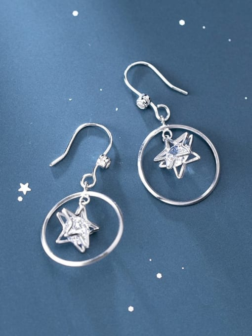 Rosh 925 Sterling Silver Cubic Zirconia Star Minimalist Hook Earring