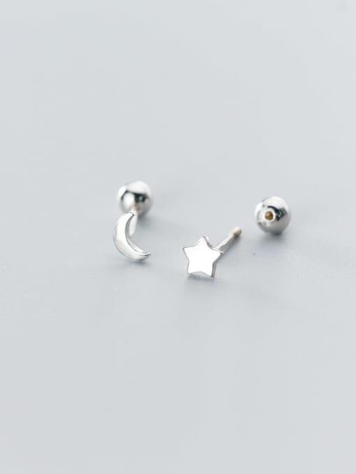 Rosh 925 Sterling Silver  Minimalist Asymmetric stars moon Stud Earring 2