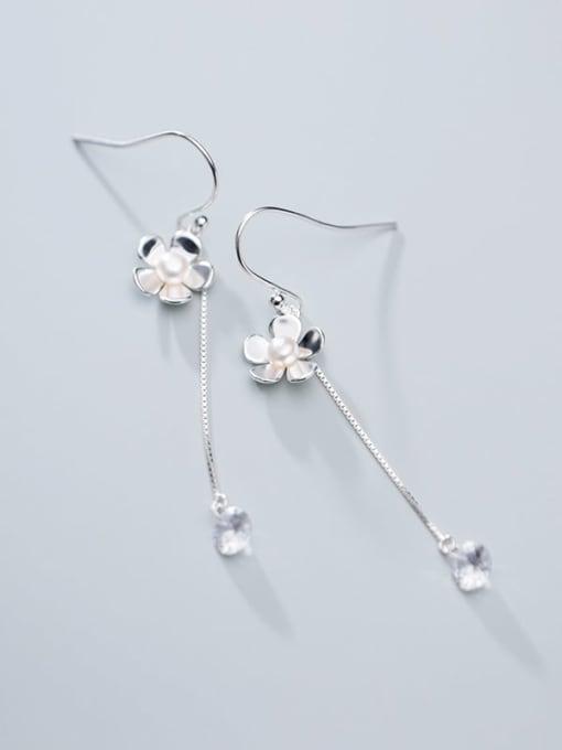 Rosh 925 Sterling Silver Imitation Pearl Tassel Minimalist Hook Earring 1