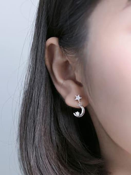 Rosh 925 Sterling Silver Cubic Zirconia Moon Minimalist Drop Earring 2