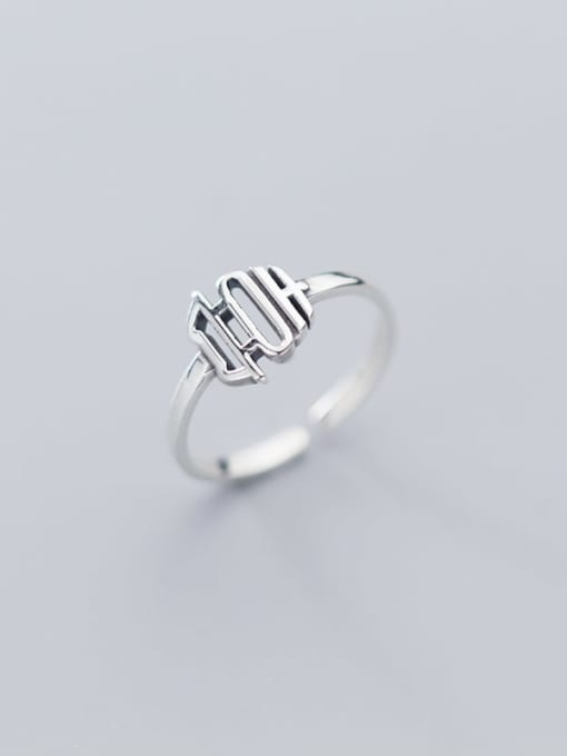 Rosh 925 sterling silver hollow  geometric vintage free size ring 0
