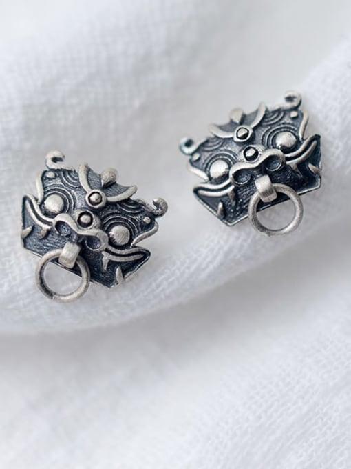 Rosh 925 Sterling Silver Archaic Unicorn Hip Hop Stud Earring