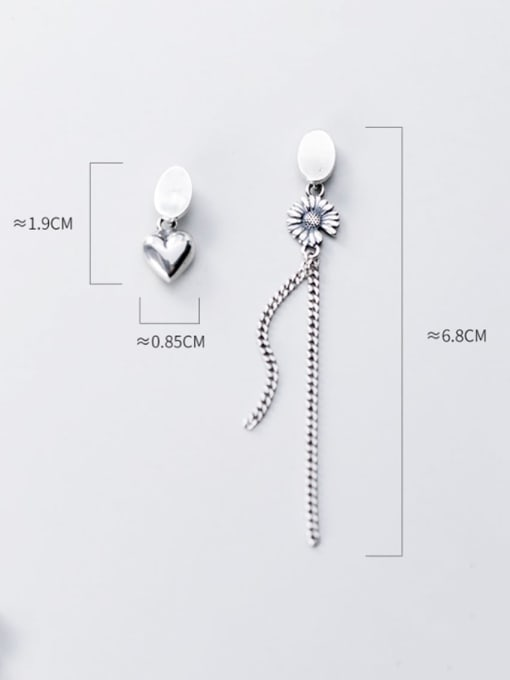 Rosh 925 Sterling Silver Retro  Daisy Asymmetric Chain Tassel Threader Earring 2