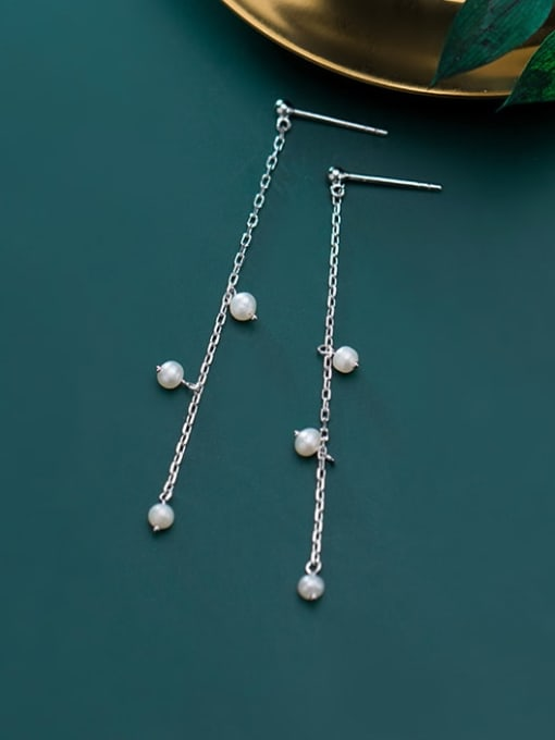 Rosh 925 Sterling Silver Imitation Pearl  Tassel Minimalist Threader Earring 0