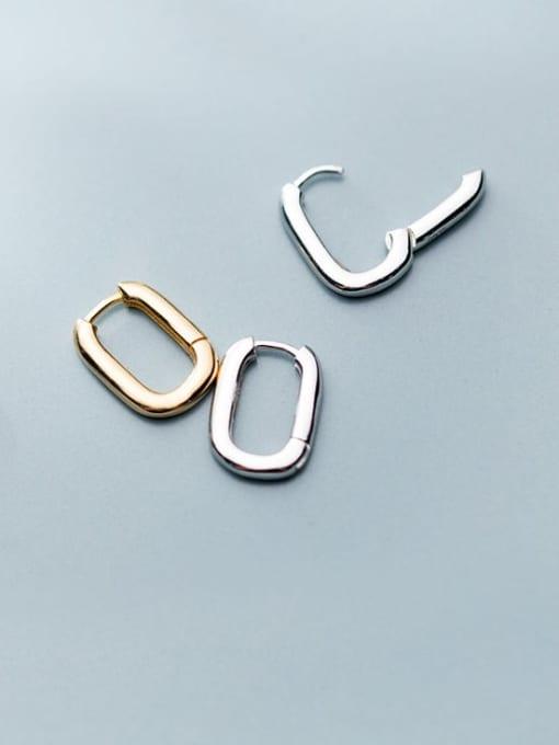 Rosh 925 Sterling Silver  Smooth Geometric Minimalist Huggie Earring