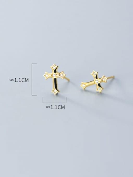 Rosh 925 Sterling Silver Rhinestone  Minimalist  Cross Stud Earring 4