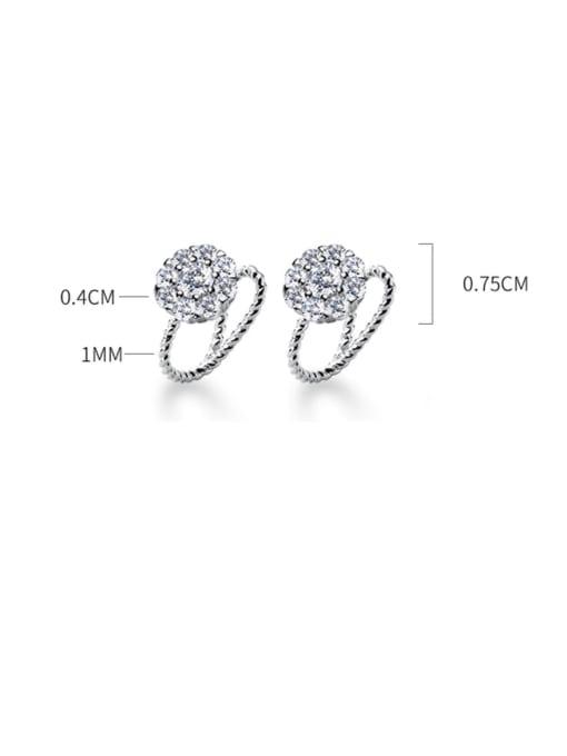 Rosh 925 Sterling Silver Cubic Zirconia Round Minimalist Huggie Earring 2