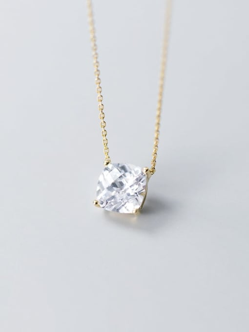 Rosh 925 Sterling Silver Simple and stylish square single diamond pendant Necklace 2