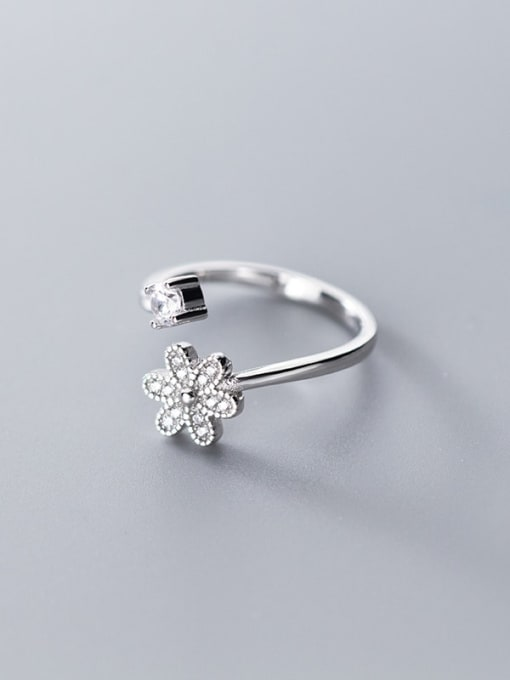Rosh 925 sterling silver cubic zirconia  flower minimalist free size ring 3