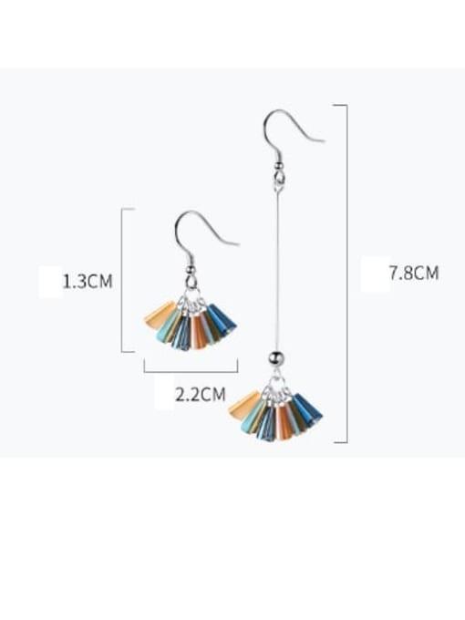 Rosh 925 Sterling Silver Cubic Zirconia Multi Color Geometric Trend Hook Earring 4