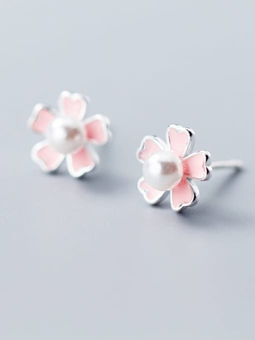Rosh 925 sterling silver imitation pearl  enamel flower cute stud earring 2