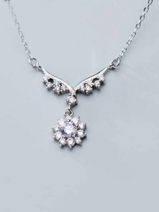 Rosh 925 Sterling Silver Personality wings small flowers diamonds Necklace 1