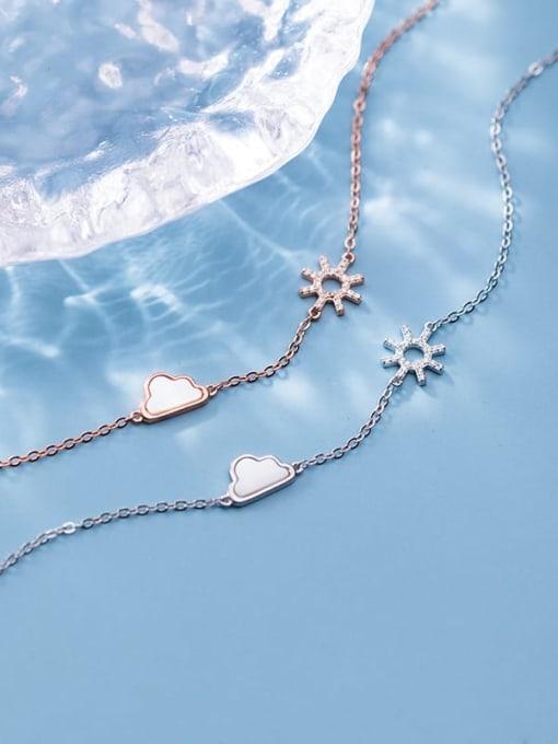 Rosh 925 Sterling Silver Cubic Zirconia Flower Minimalist Link Bracelet 4